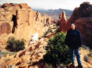 Me exploring the Fiery Furnace Canyons in Arches National Park Moab, Utah